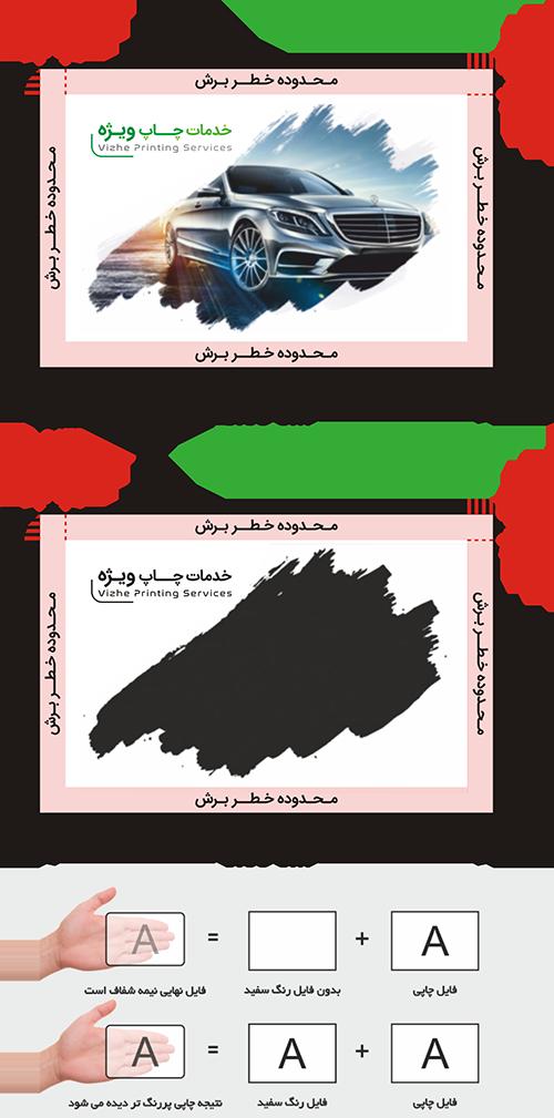 راهنمای طراحی کارت ویزیت پی وی سی برفکی دورگرد بزرگ چاپ ویژه