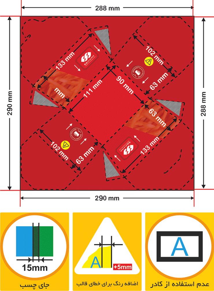 نحوه صحیح طراحی جعبه سیب زمینی بیرون بر مدل گلبرگ _ چاپ ویژه